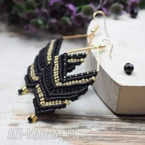 długie kolczyki boho, etno, makrama - czarno złote