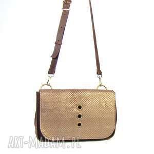 handmade mini torebka skórzana mała brązowa ze starym złotem