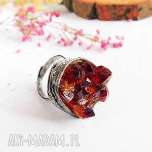 Kryształki cytrynu - pierścionek viviart druza, cytryn, kamień
