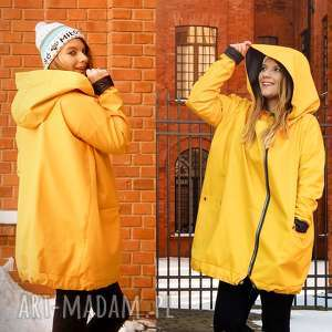 Żółty płaszcz oversize ogromny kaptur na jesień rozmiar xl