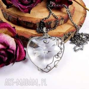 Prezent Serce z zawijasem, serce, prezent, szklane, witrażowy