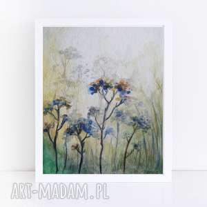 łąka-akwarela formatu a5, akwarela, kwiaty, farba, łąka, kredki, papier