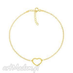 geometry - serce - bransoleta g - pozłacana, celebrytka, srebro