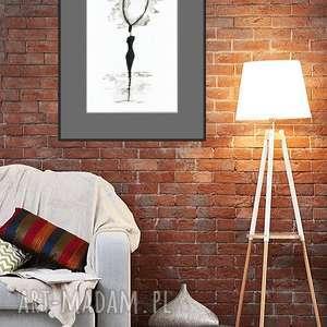 A3, ręcznie malowany, abstrakcja czarno-biała, plakat, obraz, minimalizm, minimalizm