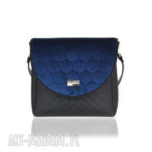 na ramię torebka puro classic 2666 navy blue honeycomb, puro, klapkomania, pikowana