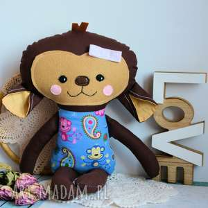 słodka małpka sonia 45 cm, dziewczynka roczek, bezpieczna, kolorowa, dzień