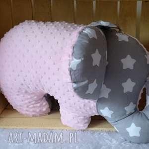 poduszka dziecięca słoń różowo-szary, słoń, słonik, przytulanka minky
