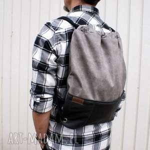 handmade plecak vegan szary czerń