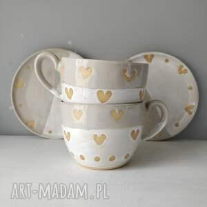 ceramika zestaw składający się z dwóch filiżanek ze spodkami 2, filiżanka