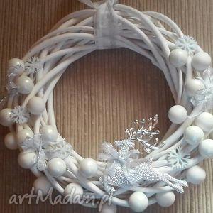 wianek stroik świąteczny biały renifer, święta, świąteczny, ozdoba, drzwi,