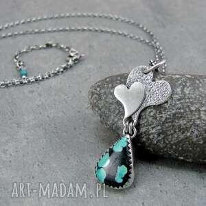 naszyjniki serca przytulone w miłości do turkusu, serce, serduszko, surowy
