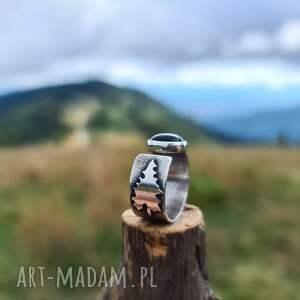 pierścień z drzewem, pierścionek diopsydem, biżuteria drzewo
