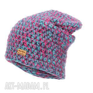 Prezent Czapka Hand Made No. 051 / beanie szydło, czapka-krasnal, czapka-z-włóczki