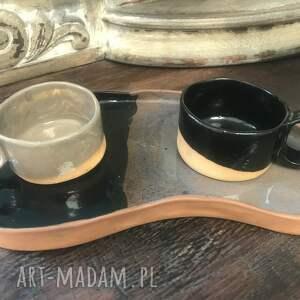 zestaw dla dwojga-talerz 2 filiżanki, ceramika artystyczna, rękodzieło