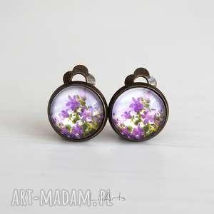 Klipsy - fioletowe kwiaty antyczny brąz, małe liliarts klipsy