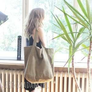 big lazy bag duża, bawełniana, khaki torba na zamek / vegan, khaki, bawełna