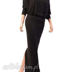 Długa, kimonowa suknia - czarna jersey sukienki milita nikonorov