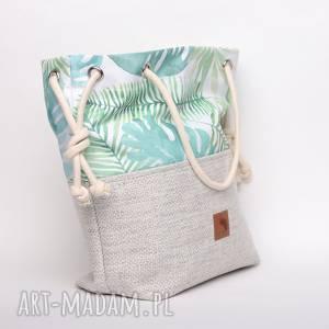 handmade torebki torebka worek w liście monstery, rączki ze sznurka