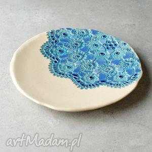 unikalny prezent, ceramika ceramiczna patera, talerz, koronka, folk, rustic