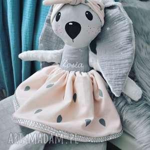 Króliczka z imieniem w opasce , przytulanka, króliczka, dziewczynka, lalka, zabawka,