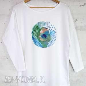 PAWIE PIÓRO bluzka bawełniana biała z nadrukiem S/M, bluzka, bluaza,