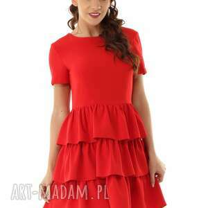 sukienki sukienka z trzema falbankami czerwona 019, oversize