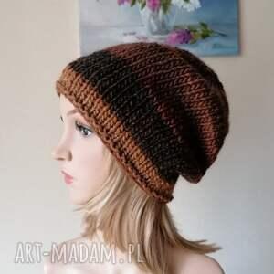 z karmelem grubaśna, lekka czapka, rękodzieło, bezszwowa czapka na druta