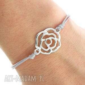 handmade bransoletki simply charm - grey twine with rose