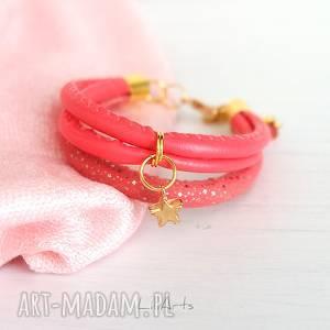 bransoletka - malinowa, gwiazdka złota, bransoletka, gwiazdka, romantyczna