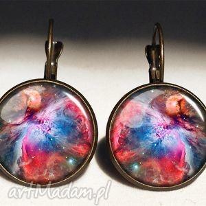 egginegg nebula - duże kolczyki wiszące - czerwone kolczyki, galaxy