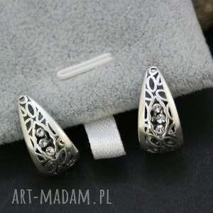 Prezent kolczyki srebrne ażurowe, kolczyki, srebrne, zapinane, naprezent