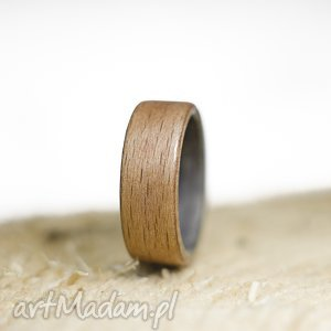 ręcznie zrobione obrączki obrączka pierścionek z drewna buk i dąb szary