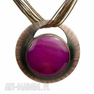 miedziany naszyjnik z amarantowym agatem c972, okrągły naszyjnik, purpurowy wisior