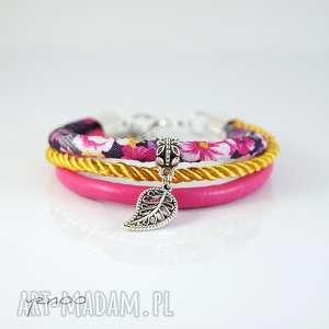 bransoletka - liść, bransoletka, rzemienie, sznurek, kwiaty, prezent