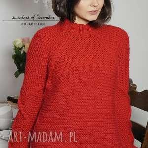 czerwony sweter, romby, warkocze, dziergany, wełniany, alpaka