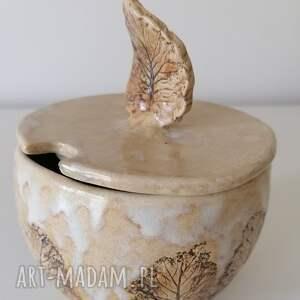 cukiernica spacer po lesie, ceramika rękodzieło, z gliny