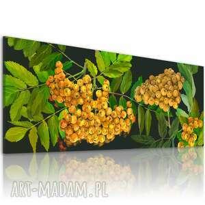 nowoczesny obraz do salonu drukowany na płótnie - zółta jarzębina drzewo 150x60cm
