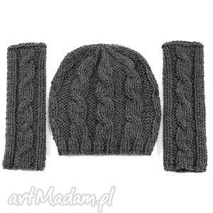 hand-made czapki komplet czapka i mitenki w warkocze ciemnoszare