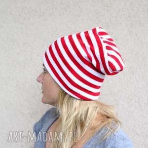 handmade czapki czapka dresowa biało-czerwona unisex