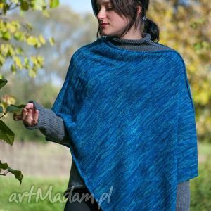 ponczo niebieski melanż, poncho, niebieskie, wełna, wełniane