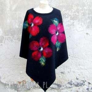 ponczo kwiaty, poncho, ponczo, klasyczne filcowane, czarne