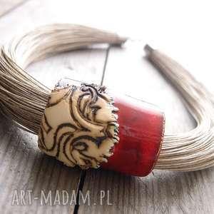 naszyjnik lniany turna, len, lniany, ceramika naszyjniki biżuteria