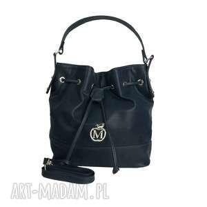 Stylowy worek torebka MANZANA luźny styl- granatowy, torebka, torba, damska,