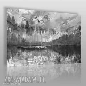 obrazy obraz na płótnie - pejzaż góry czarno-biały 120x80 cm 30703