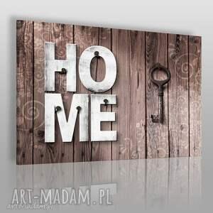 obraz na płótnie - home drewno klucz rustykalny 120x80 cm 75801, home, napis