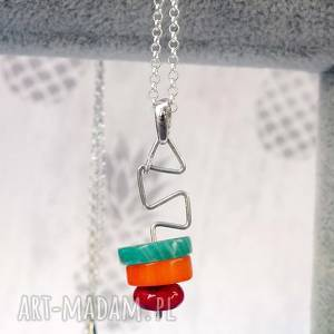 niebanalny naszyjnik minimalistyczny - trzy mineraŁy i srebro 925, naszyjnik, srebrny