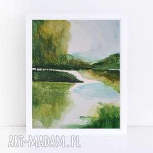 pejzaż nad wodą-akwarela formatu 18/24 cm, akwarela, woda, pejzaż, zieleń