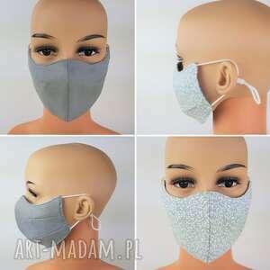 maseczka w szarą łączkę, bawełniana, wielorazowa, maska