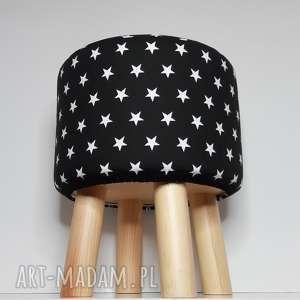 Pufa Małe Czarne Gwiazdki - 36 cm , krzesło, taboret, puf, vintage, siedzisko