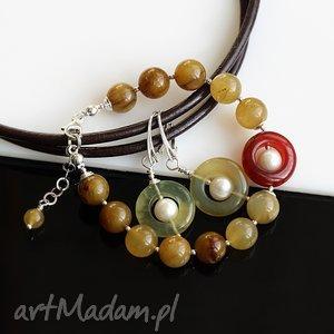 komplety ukryte perły komplet, jadeit, soocho, perły, srebro, komplet biżuteria